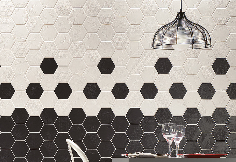 CAPRICE SMOOTH BIANCO 13x11,4 · CAPRICE SMOOTH NOTE 13x11,4 · CAPRICE HEXAGONAL ENMMALLADO SMOOTH BIANCO 45,5x20 · CAPRICE HEXAGONAL ENMALLADO NOTTE 45,5x20
