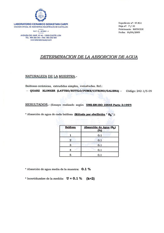 CERTIFICADO DETERMINATION OF WATER ABSORPTION