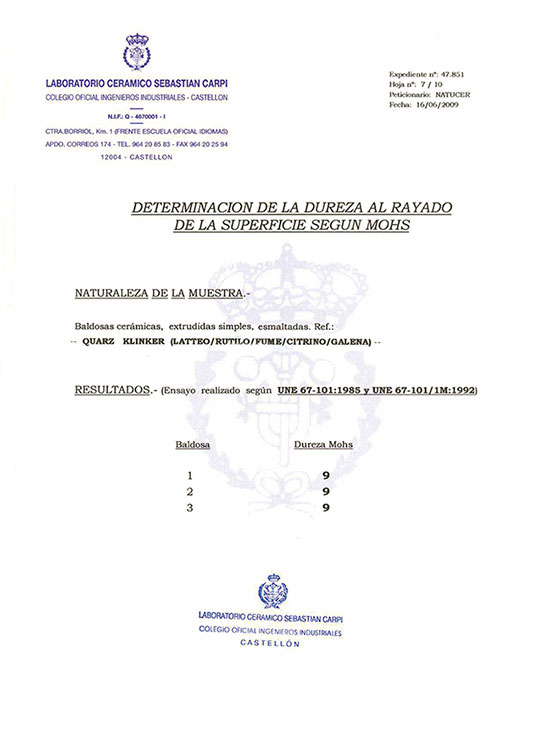CERTIFICADO DETERMINATION OF SCRATCH HARDNESS SURFACE ACCORDING MOHS