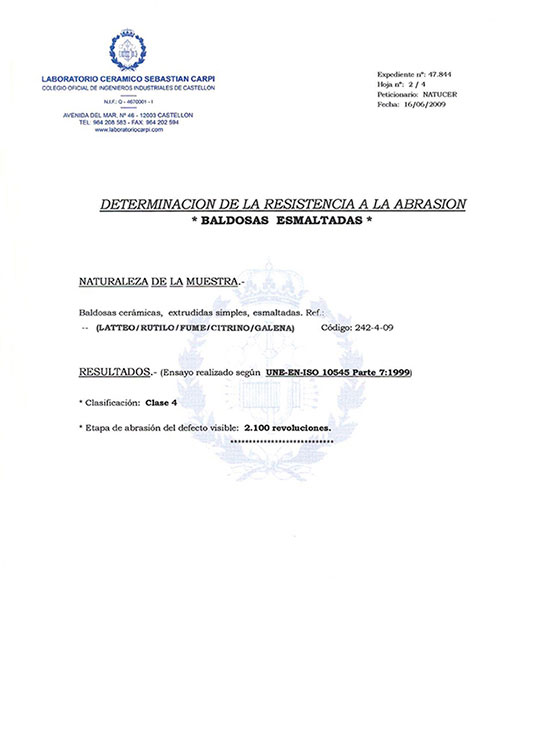 CERTIFICADO DETERMINATION OF THE ABRASION RESISTANCE