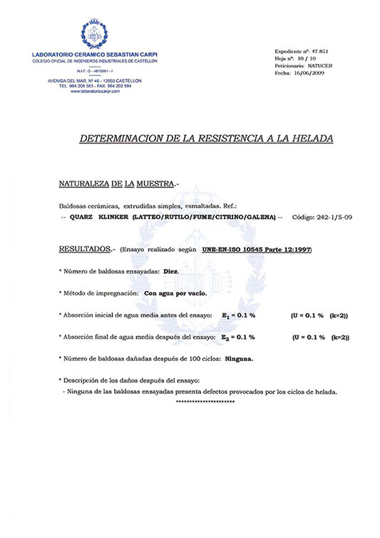 CERTIFICADO DETERMINATION OF FROST RESISTANCE