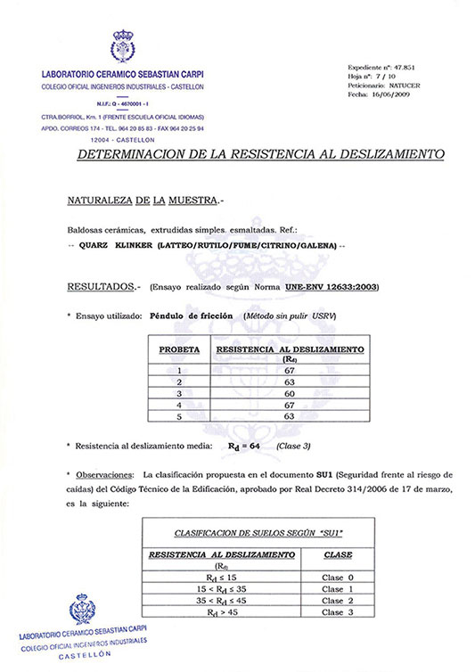 CERTIFICADO DETERMINATION OF SLIP RESISTANCE