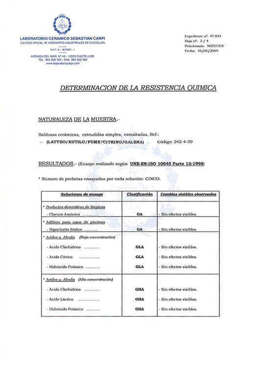 CERTIFICADO DETERMINATION OF CHEMICAL RESISTANCE
