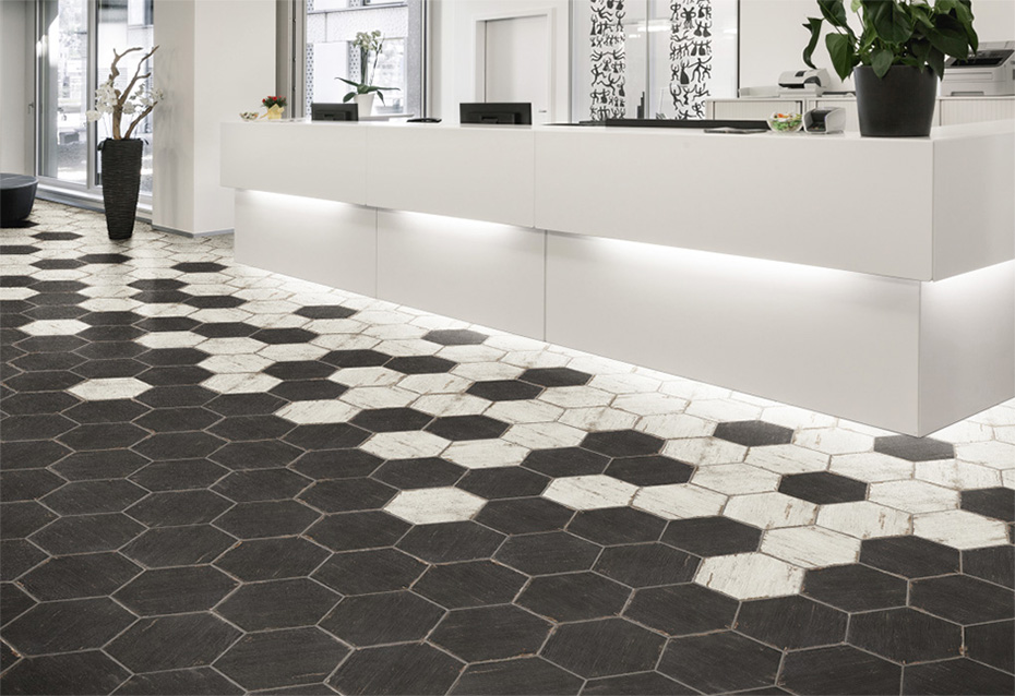 RETRO NEGRE HEXAGONAL 36x41,5 · RETRO BLANC HEXAGONAL 36x41,5